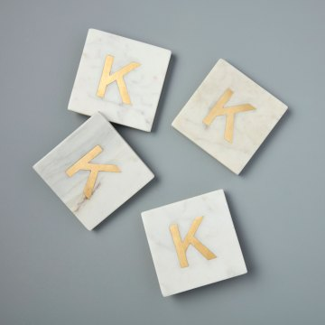 White Marble with Gold Monogram Coasters, S/4 Letter K