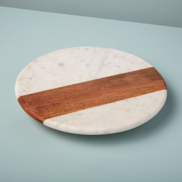 White Marble & Wood Lazy Susan