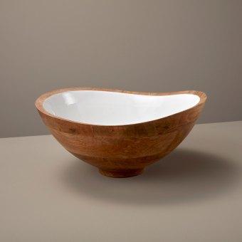 Mango Wood and White Enamel Bowl, Small