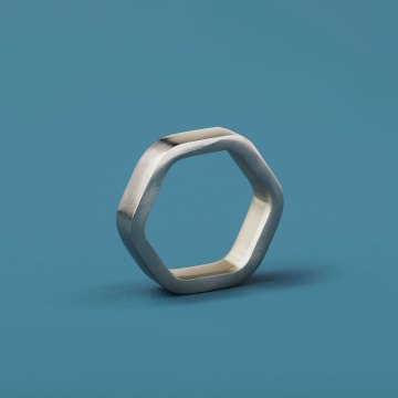 Hexagon Napkin Ring Silver