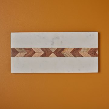 White Marble & Wood Mosaic Rectangular Board