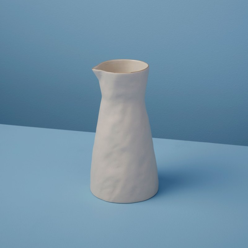 Gold Rim Stoneware Carafe White, Small