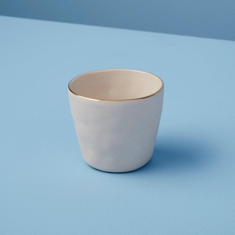 Gold Rim Stoneware Tumbler White, Mini