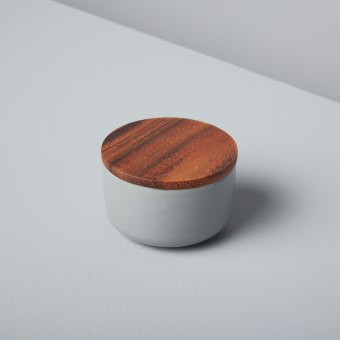 Stoneware Container with Acacia Lid, Storm, Small