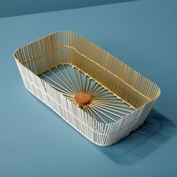White & Gold Wire Rectangular Basket