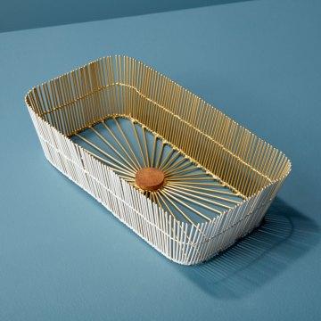 White & Gold Wire Rectangular Basket