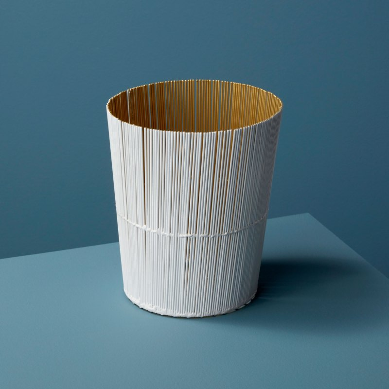 White & Gold Wire Tall Basket