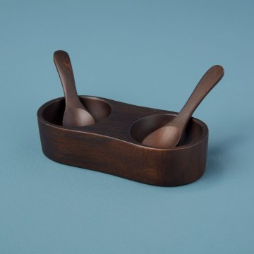 Ebony Teak Salt & Pepper Cellar with Spoons