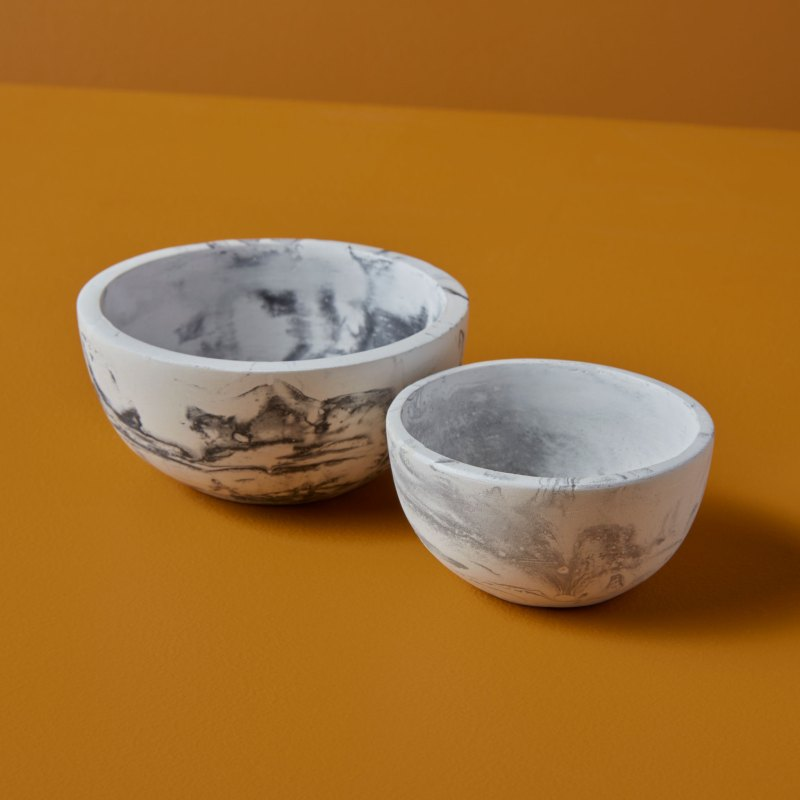 Marbled Cement Nesting Bowls, Set of 2, Black/Gray