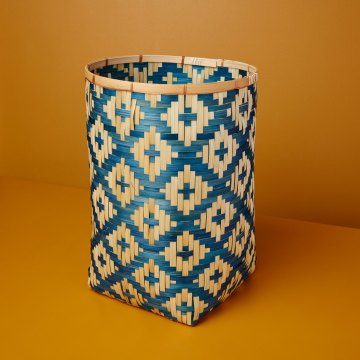 Diamond Weave Bamboo Basket Large, Blue