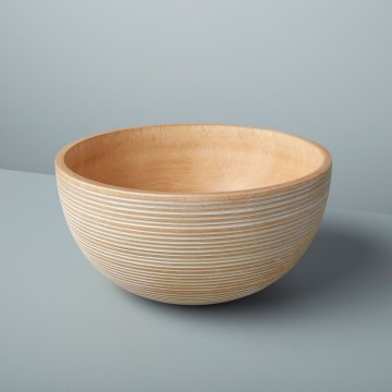 White Striped Mango Wood Bowl Large