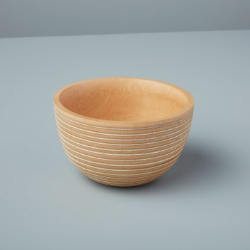 White Striped Mango Wood Bowl Medium