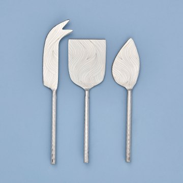 Etched & Hammered Cheese Set, Stainless