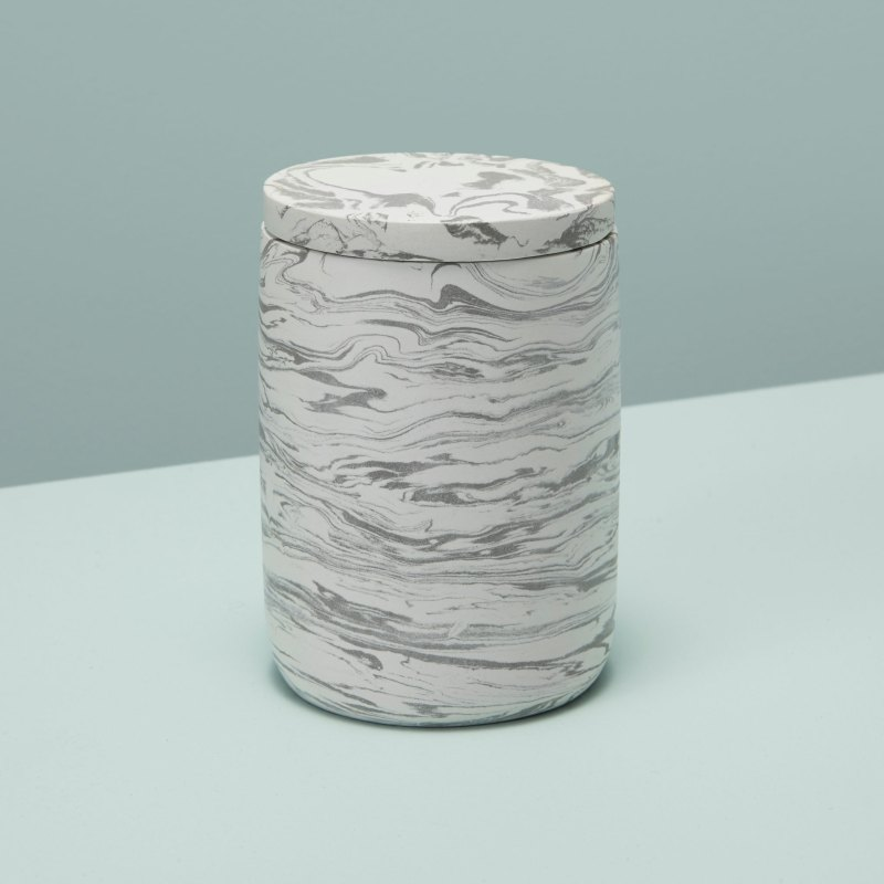 Marbled Cement Bath Canister, Gray