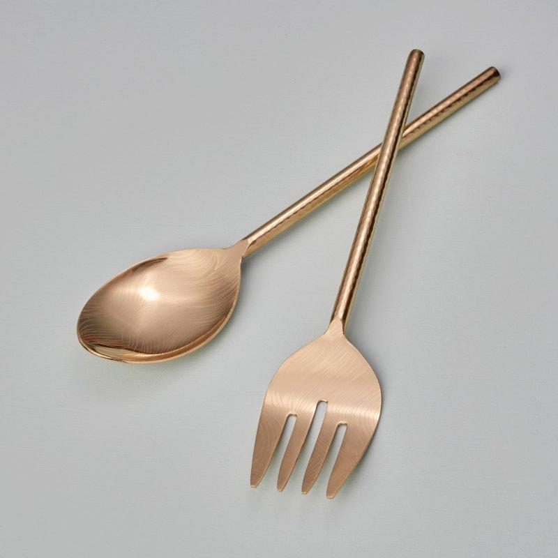 Etched & Hammered Serving Set, Gold