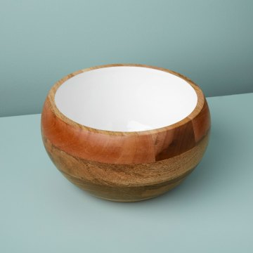 Mango Wood & Enamel Round Bowl, Large