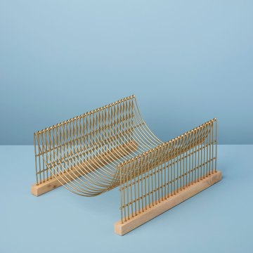 Raw Mango Wood & Gold Dish Drying Rack