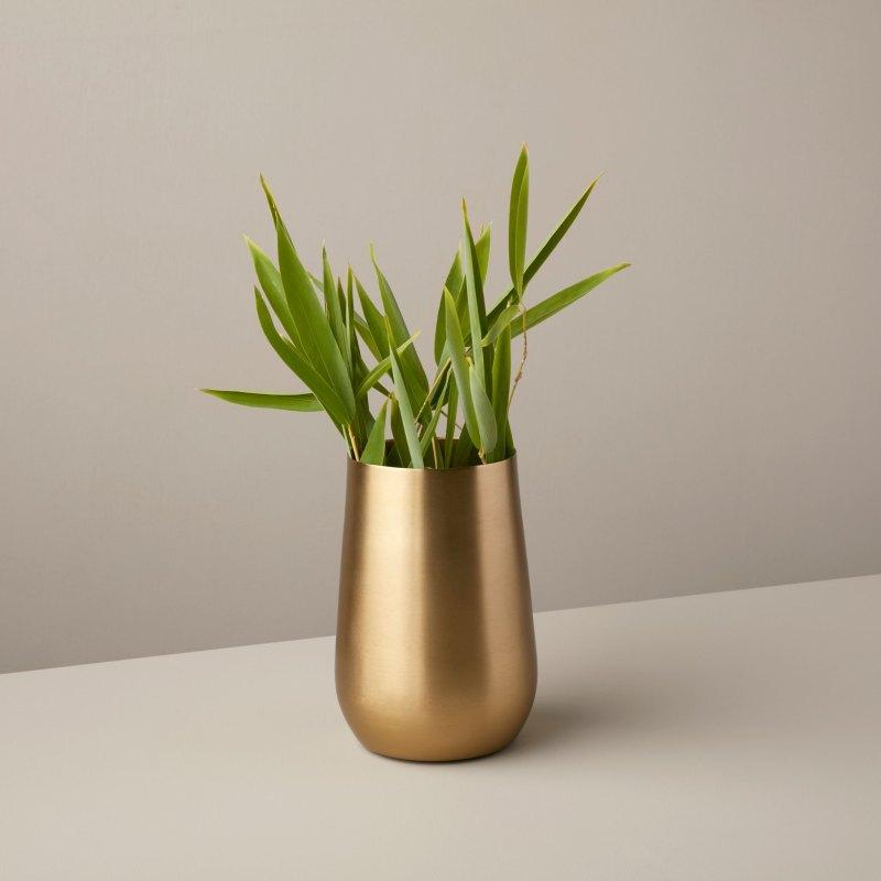 Satin Gold Sloped Vase, Midi