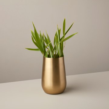Satin Gold Sloped Vase, Medium