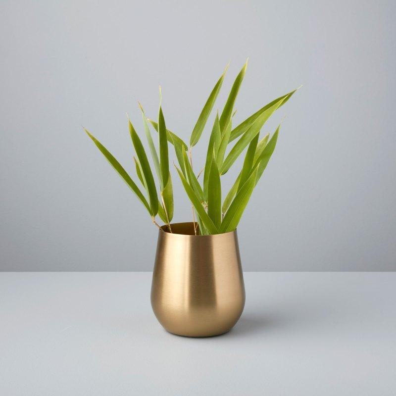 Satin Gold Sloped Vase, Mini