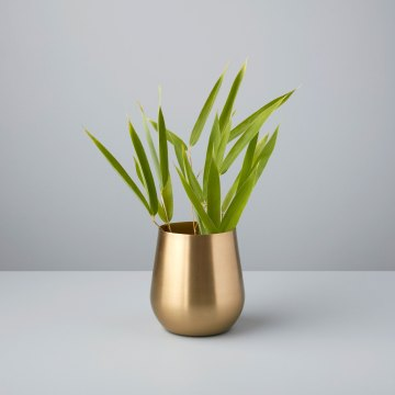 Satin Gold Sloped Vase, Mini