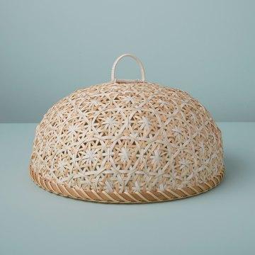 Woven Bamboo Cloche, White