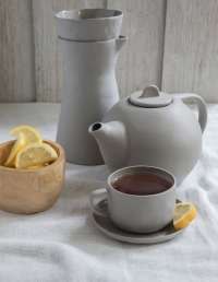 Stoneware Tea Cup & Saucer, Sterling 2