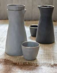 Gold Rim Stoneware Carafe White, Small 3