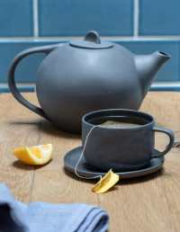 Stoneware Tea Cup & Saucer, Sterling 3