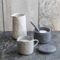 Stoneware Pitcher White, Small 2