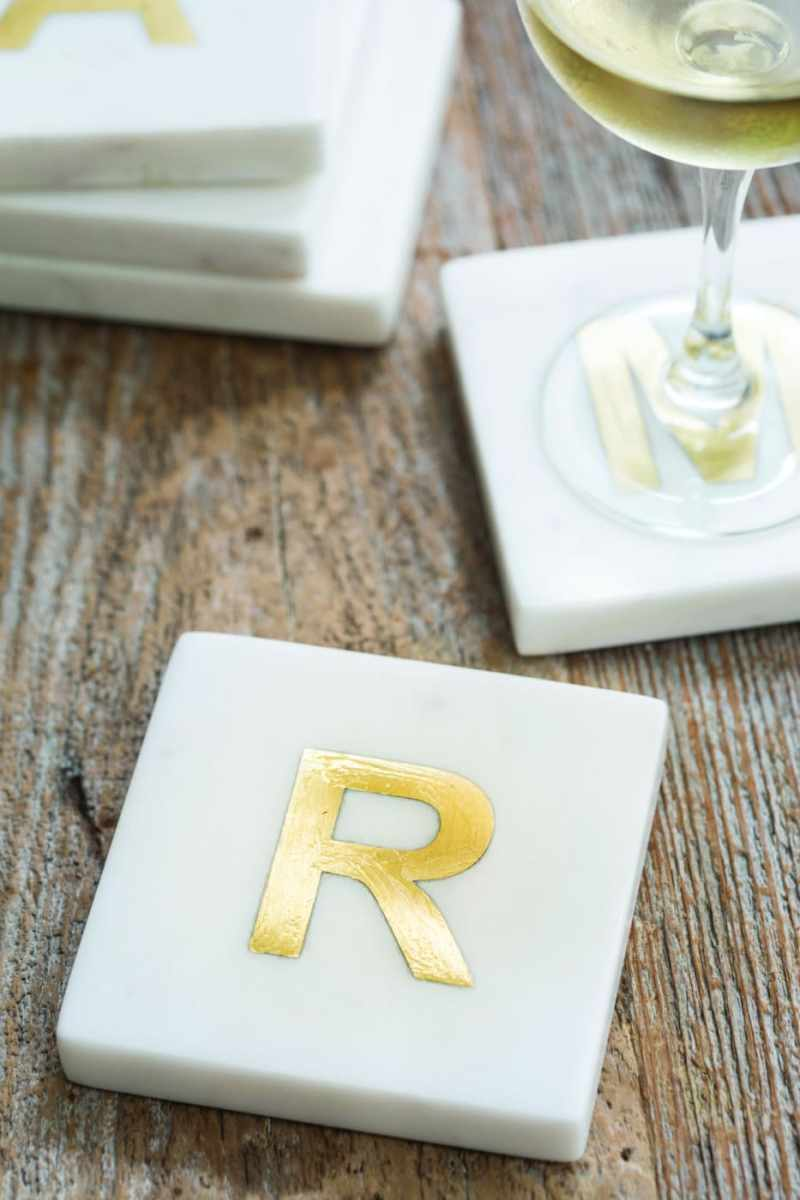 White Marble with Gold Monogram Coasters, S/4 Letter S