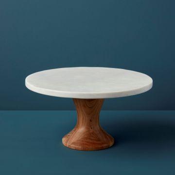 White Marble & Acacia Rotating Cake Stand