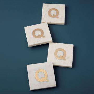 White Marble & Gold Monogram Coasters Set of 4, Q