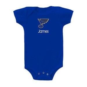 Infant St. Louis Blues Royal Personalized Bodysuit
