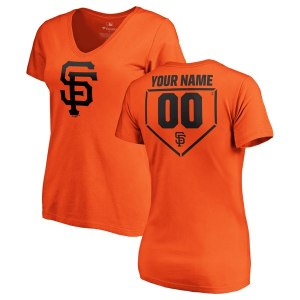 Women's San Francisco Giants Fanatics Branded Orange Personalized RBI Slim Fit V-Neck T-Shirt
