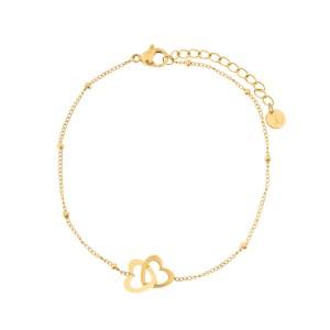 Bracelet two hearts gold