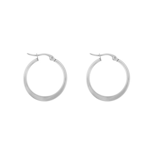 Earrings hoops round statement medium silver