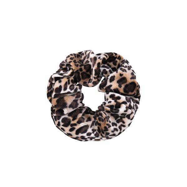 Scrunchie velvet leopard brown