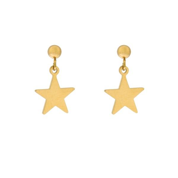 Stud earrings star gold