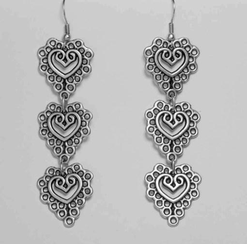 Triple heart wholesale earrings