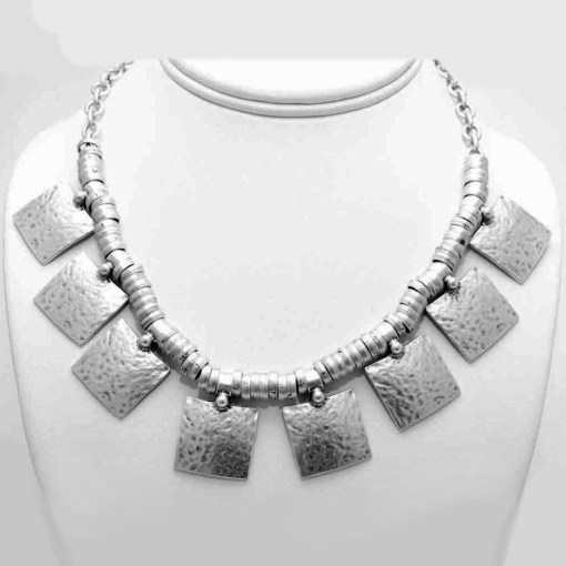 Silver square boho necklace