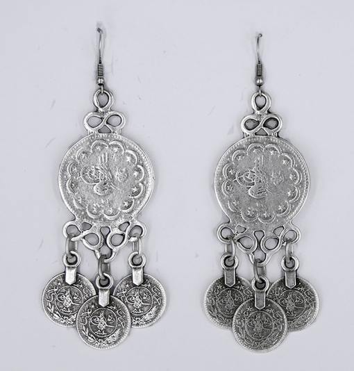 Silver Turkish coin earrings