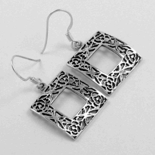 Square 925 silver earrings
