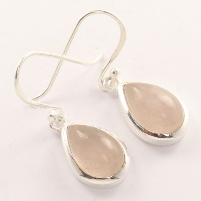 rose quartz silver earrings