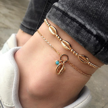 gold cowrie shell anklet