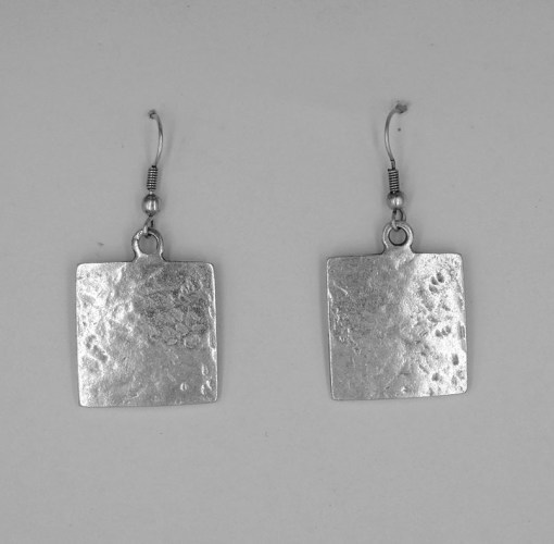 small silver square earrings