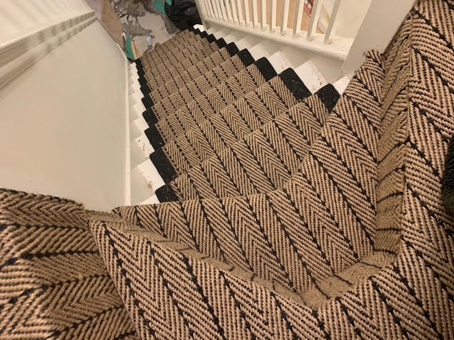 Herringbone Twill Matching Landing Wholesale Carpets | Herringbone Carpet For Stairs | High Traffic | Textured | Classical Design | Striped | Carpet Stair Treads