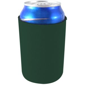 blank neoprene collapsible can coolie koozie dark green