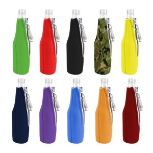 Blank neoprene bottle coolie with attached bottle opener variety 12 pack.