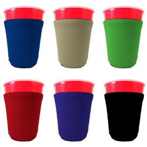 Blank neoprene party cup coolie color variety 6 pack.